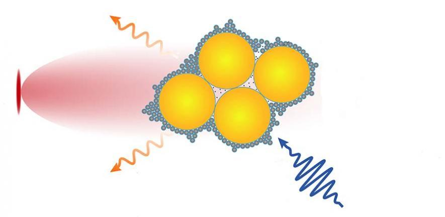 The device combines tiny semiconductor nanocrystals called quantum dots and gold nanoparticles using molecular glue